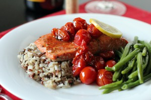 Salmon with Roasted Cherry Tomatoes