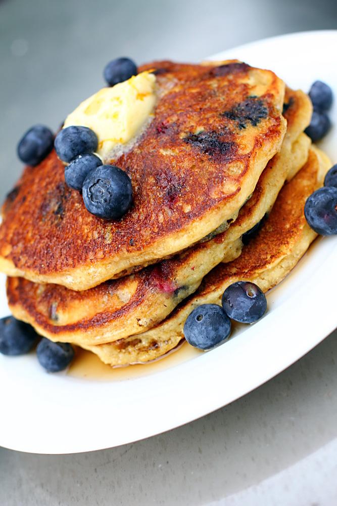 Blueberry Cornmeal Pancakes | Ciao Annie