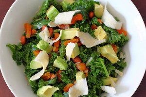 Kale Salad with Avocado, Apricots & Almonds