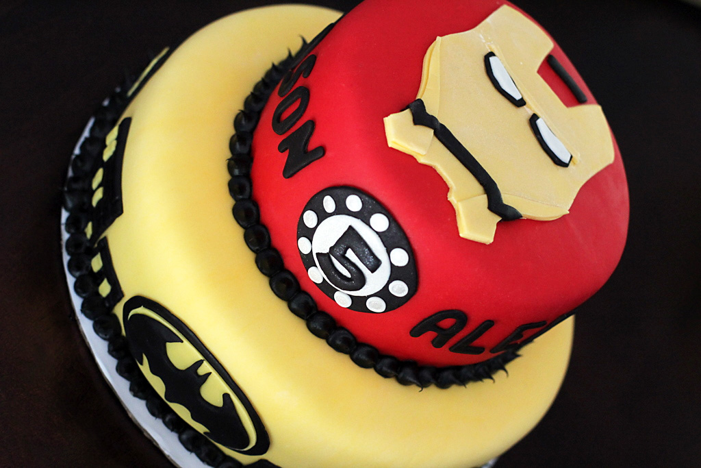 Batman And Iron Man Cake